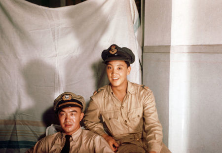 Charlie Chow (right) in India with his friend Harold Chinn.
