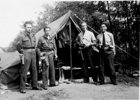 Cy, Paul, Pete, Fred at tent