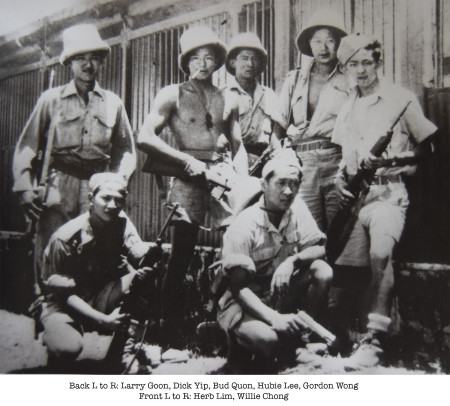 India 1945. Back row L to R: Larry Goon, Dick Yip, Bud Quon, Hubie Lee and Gordon Wong. Front row: Herb Lim, Willie Chong.