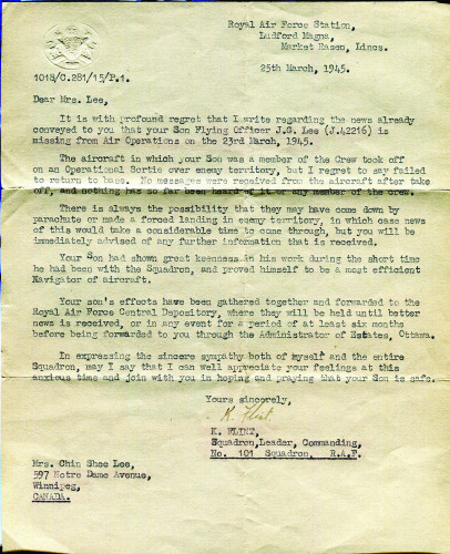 Letter to Lee family from 101 Squadron leader K. Flint