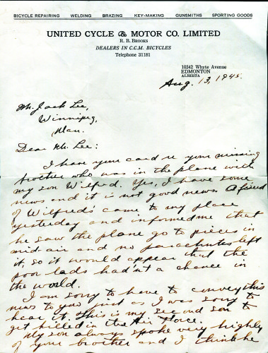 Letter to Lee family from the father of Wilfred Brooks
