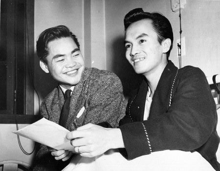 Awarded the military medal: Louie King (L) and Norman Low celebrate in the hospital where Low was recovering from complications due to malaria.