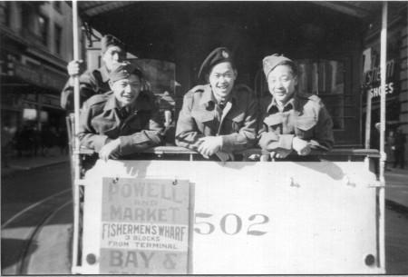 Harden Lee (far right) on a San Francisco streetcar with his friends including Ed Fong, Hank Chang and Dick Lam.