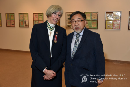 Lieutenant Governor Judith Guichon speaks with museum historian Larry Wong.