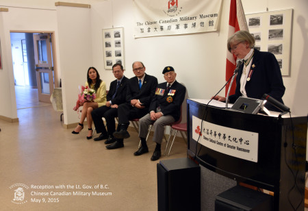 Lieutenant Governor, the Honourable Judith Guichon, addresses the guests at the Museum opening.