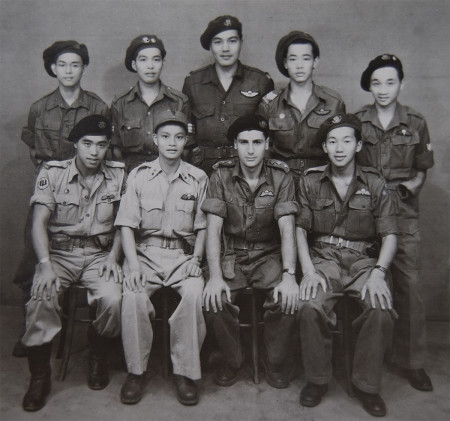 Kuala Lumpur, Malay, Nov 1945 Back row (L-R): unknown, Bing Lee, Ernie Louie, Harry Ho, Bill Lee. Front row (L-R): Ted Wong, Nationalist Chinese soldier, Mike Levy, Henry Fung