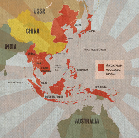 Map of Japanese occupied areas of Asia during WWII